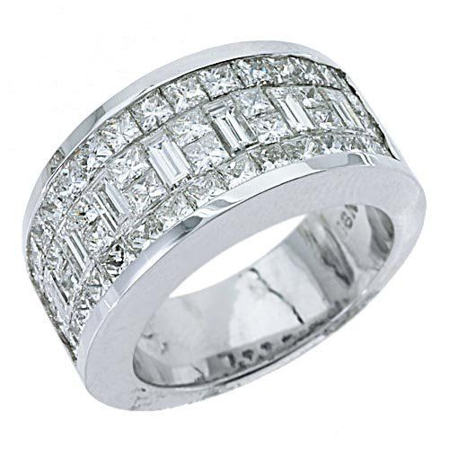 Men's wedding ring: 18k white gold invisible set princess baguette 3.17ct men's diamond ring.