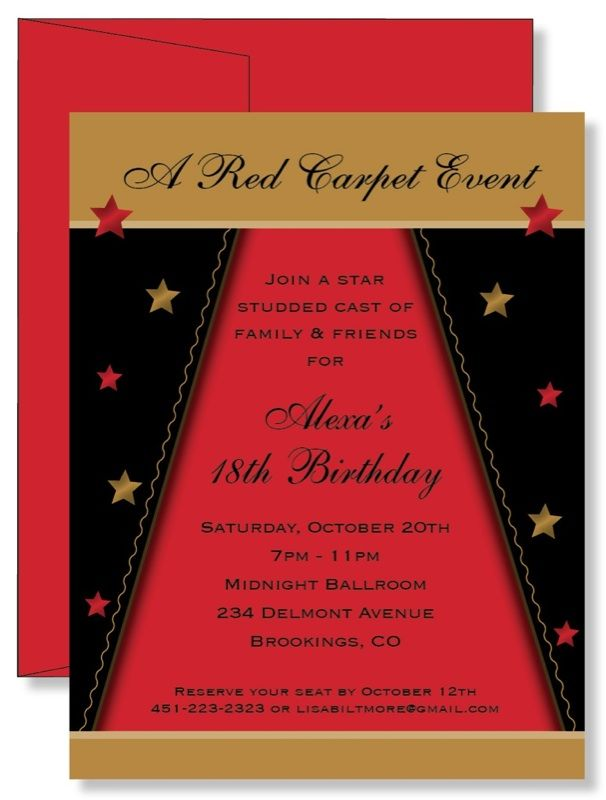 design birthday party invitations free%0A    Custom Personalized Star Studded Red Carpet Birthday Party Invitations    eBay