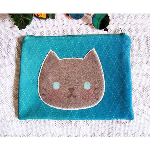 Cat Lovers /Kitty Kitty Scuba Fabric Cat Clutch -Hand Bag -10 Tablet... ($24) ❤ liked on Polyvore featuring bags, handbags, clutches, cat handbags, cat purse, blue handbags, vegan leather handbags and blue clutches
