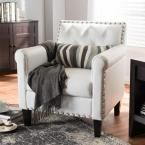 Thalassa White Faux Leather Upholstered Arm Chair