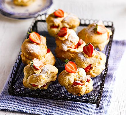 Strawberry & white chocolate choux buns: Fill light choux pastry with a creamy vanilla custard and Greek yogurt filling then finish with fresh fruit for a lower-sugar afternoon tea treat