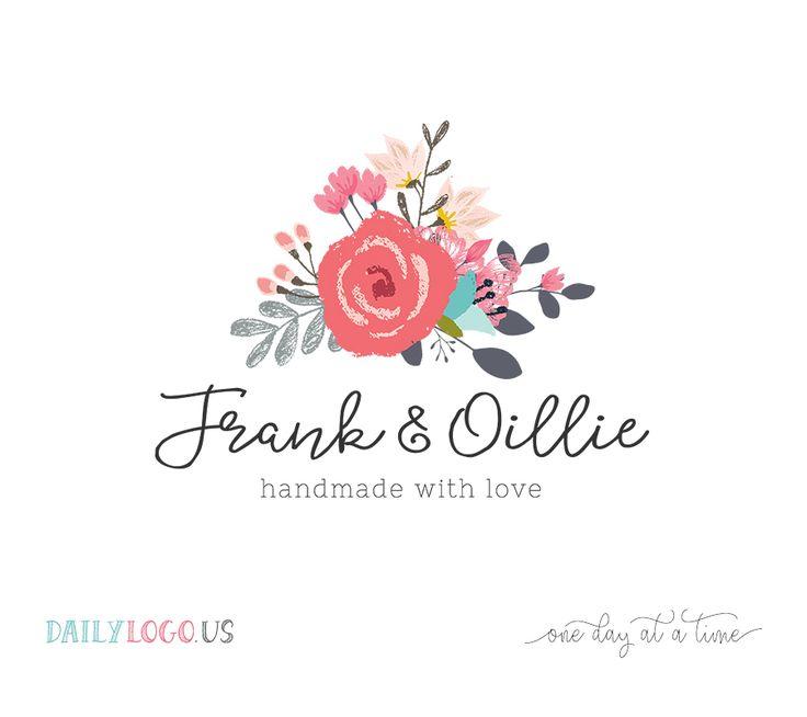 Watercolor floral logo design premade logo design for website, boutique, small business branding