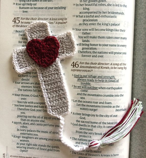 Crochet Cross Bookmark Grey White and Crimson by SarahRuthCrochet