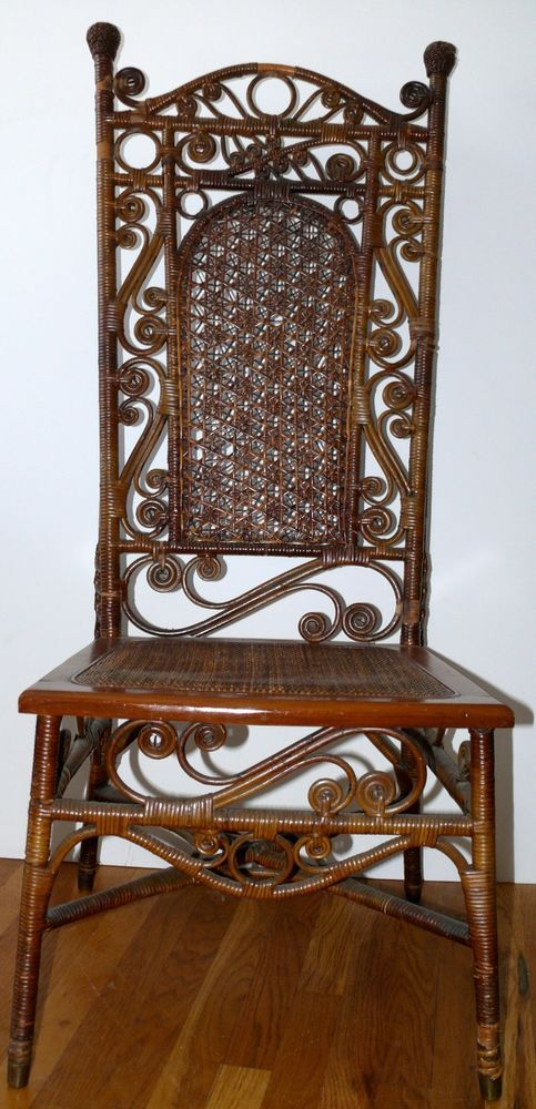 ANTIQUE VICTORIAN WICKER CHAIR 1800u0027S UDELL CRUNDEN U0026 CO SAINT LOUIS # Victorian #UDELLCRUNDEN