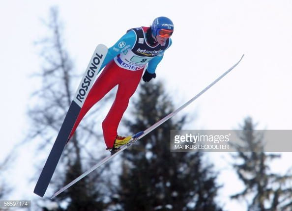Tami Kiuru from Finland is airbourn 15 January 2006 at the FIS SkiFlying World championship Team competition in Tauplitz Bad Mitterndorf on the...