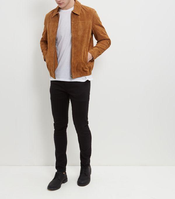 veste en daim camel new look style pour homme. Black Bedroom Furniture Sets. Home Design Ideas