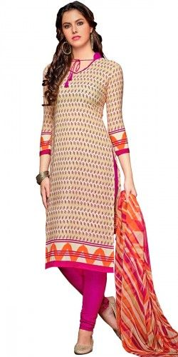 Lovely Cream Crepe Printed Straight Salwar Suit With Dupatta.