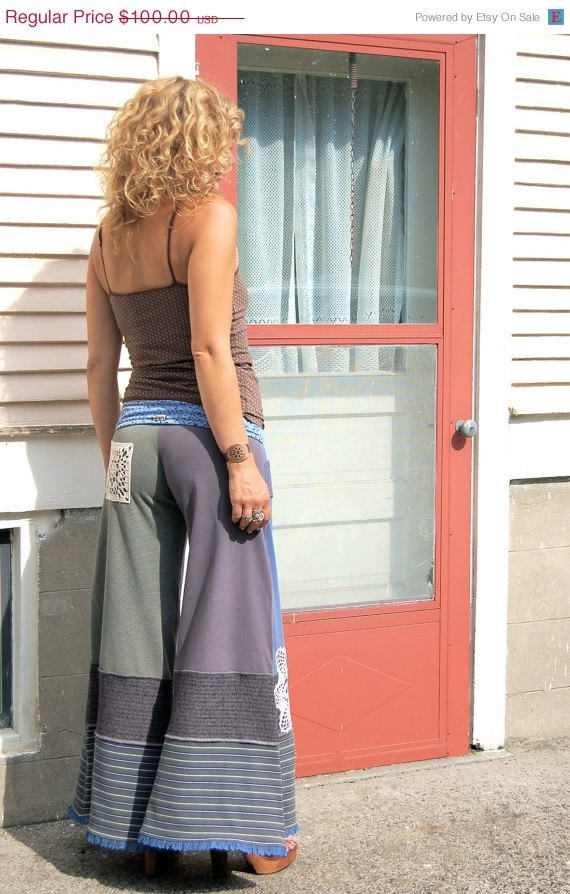CIJ Sale Eco Gaucho PANTS patchwork clothing jersey yoga by zasra, $85.00