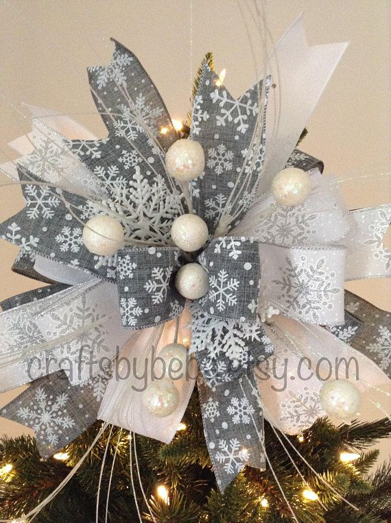 Christmas Tree Topper Xmas Decorative Bow Snowflakes Christmas Tree Topper Xmas Snowflakes Decor Bow Gray And White Snowflakes Bow Christmas Tree Toppers Snowflake Decorations Christmas Tree Topper Snowflake