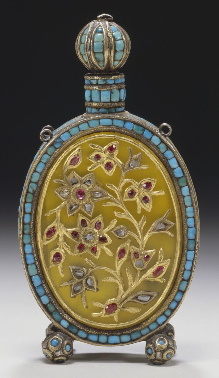 Perfume Bottle | India, Delhi, circa 1800. Silver and yellow quartz (Citrine) inlaid with turquoise, diamonds, and rubies set in gold