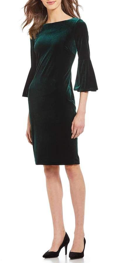 c2ff09cdf6e Calvin Klein Velvet 3 4 Bell Sleeve Sheath Dress  Velvet Klein Calvin