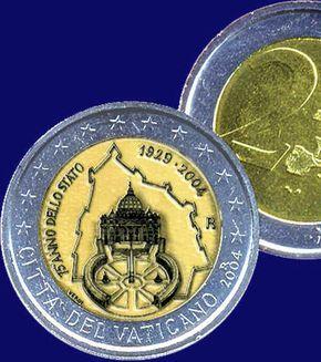 Le 2 euros du Vatican - Cette pièce mise en circulation en 2004 à l'occasion des 75 ans de la cité n'a été tirée qu'à 85 000 exemplaires. Sa valeur taquine les 100 euros selon les collectionneurs