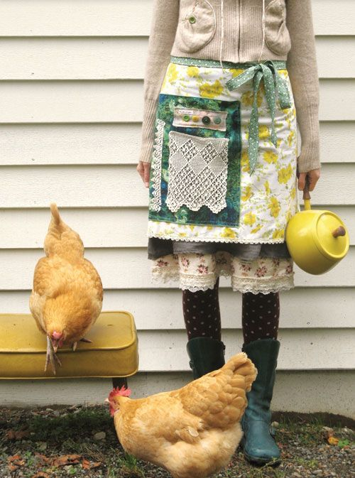 chickensFresh Eggs, Farms Girls, Chicken, Dottie Angels, Aprons, Farms Life, Country Life, Buff Orpington, Farm Girls