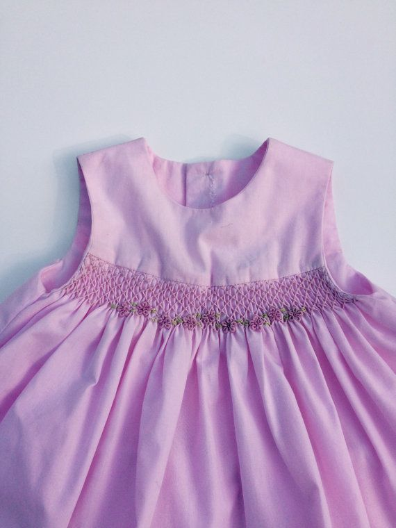 Baby girls pink smocked top and bloomer handmade by CigaleBoutique
