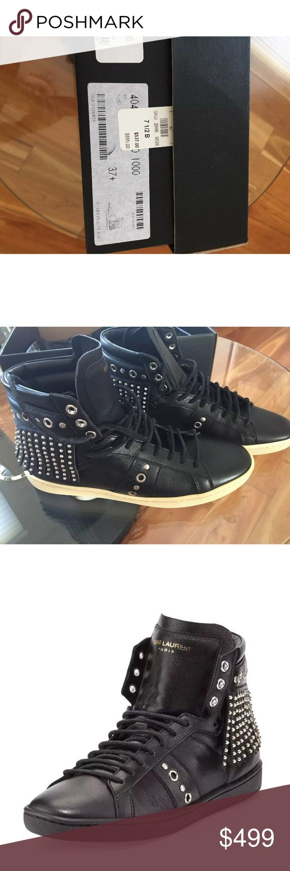 NIB Saint Laurent Studded-fringe sneakers, sz 37.5 BRAND NEW WITH BOX 100% AUTHENTIC Saint LaurentStudded-Fringe Leather High-Top Sneaker, Black, retail for $895 Saint Laurent calfskin sneaker with studded-fringe trim. Flat sole. Round toe. Lace-up front. Logo patch at tongue. Cushioned topline. Rubber outsole. Made in Italy. Please, know your size.... Final sale!!!!! Please, ask all your questions, before you buy. Saint Laurent Shoes Sneakers