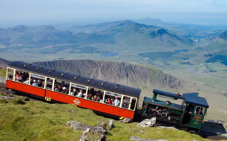 Train going up Mount Snowden, Wales, U.K