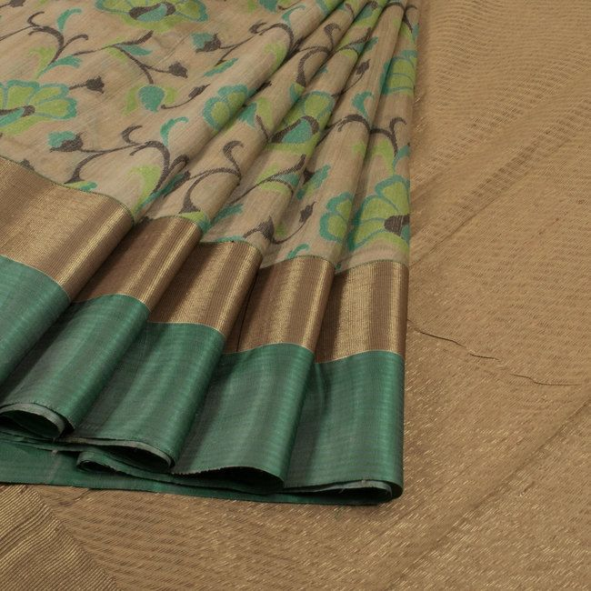 Handwoven Beige Banarasi Kadhwa Tussar Silk Saree With Meenakari & Jangla Design 10013356 - AVISHYA.COM