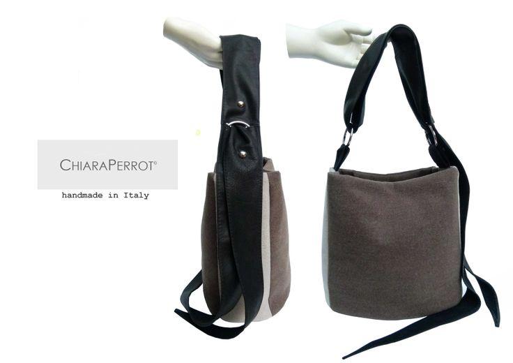 Bucket bag__double13  wool rag&leather handmade in Italy