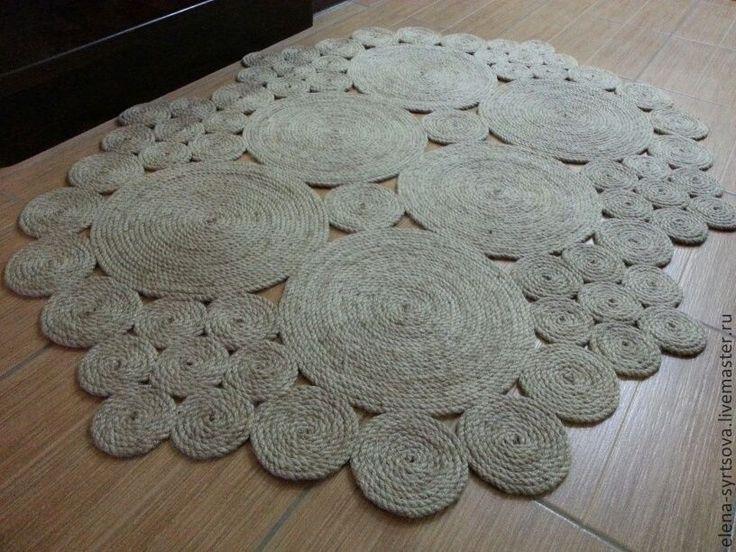 """Купить Коврик """"Поляна"""" - бежевый, коврик, коврик ручной работы, коврик на пол, натуральные материалы"""