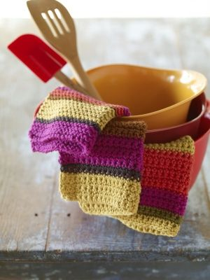 Stripey knitted dish clothes, very sweet!: Crochet Dishes, Crochet Dishcloth, Lion Branding Yarns, Clothing Patterns, Free Pattern, Lion Brand Yarn, Dishes Clothing, Cloths, Crochet Patterns