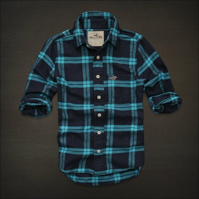 NEW HOLLISTER By Abercrombie MENS CASUAL SHIRT FLANNEL PLAID S Blue Navy
