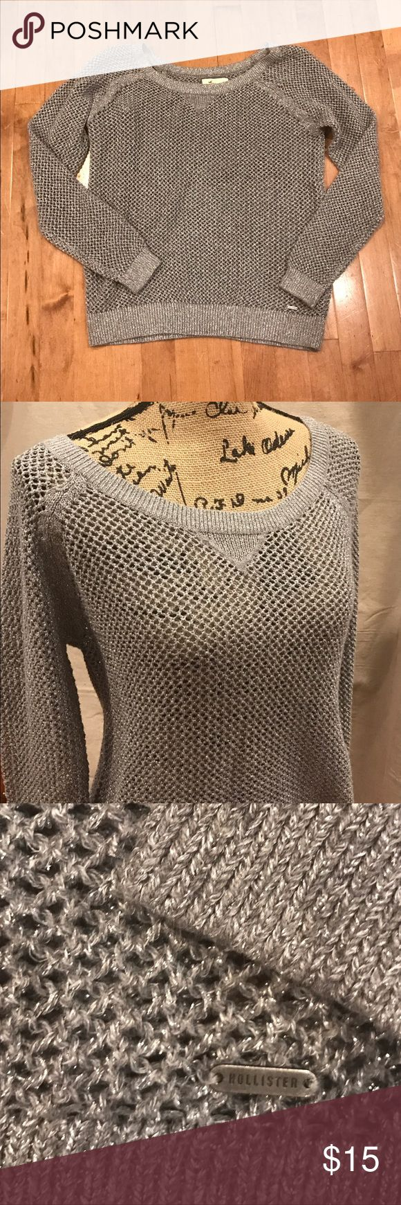 Hollister silver grey mesh sweater Sparkly mesh sweater by Hollister looks great with skirts or dressed down with jeans. Size large. Hollister Sweaters Crew & Scoop Necks