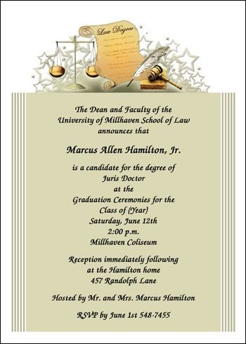 customize your own graduating ceremony invitations for law school graduates and graduation announcements for new lawyer grads at InvitationsByU, Card No: 7240-IBU-LM Regular Price: As low as $0.79