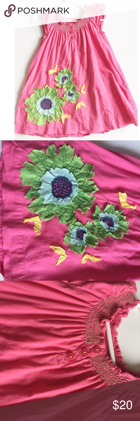 Mini Boden dress Pink smocked floral appliqué fully lined buttons in back dress Mini Boden Dresses Casual