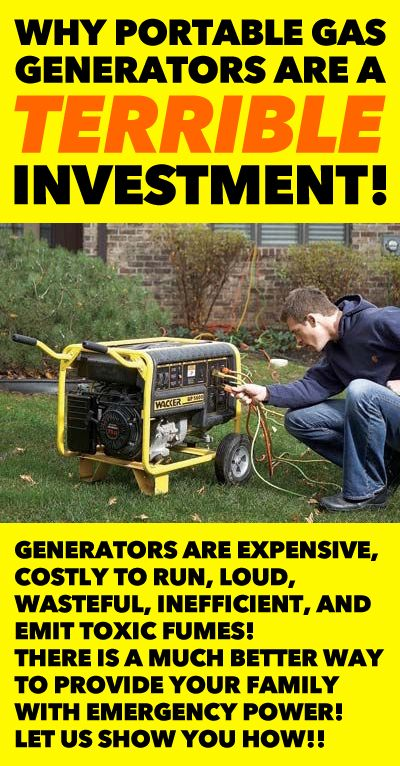 DON'T waste HUNDREDS of dollars on a portable gas generator for emergency power purposes!! There is a MUCH better way that is FAR less expensive, less wasteful, much safer, safer, effective and efficient!! Learn how!!
