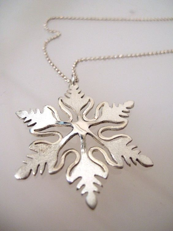 Sterling silver snowflake necklace snowflake pendant for Sterling silver christmas jewelry