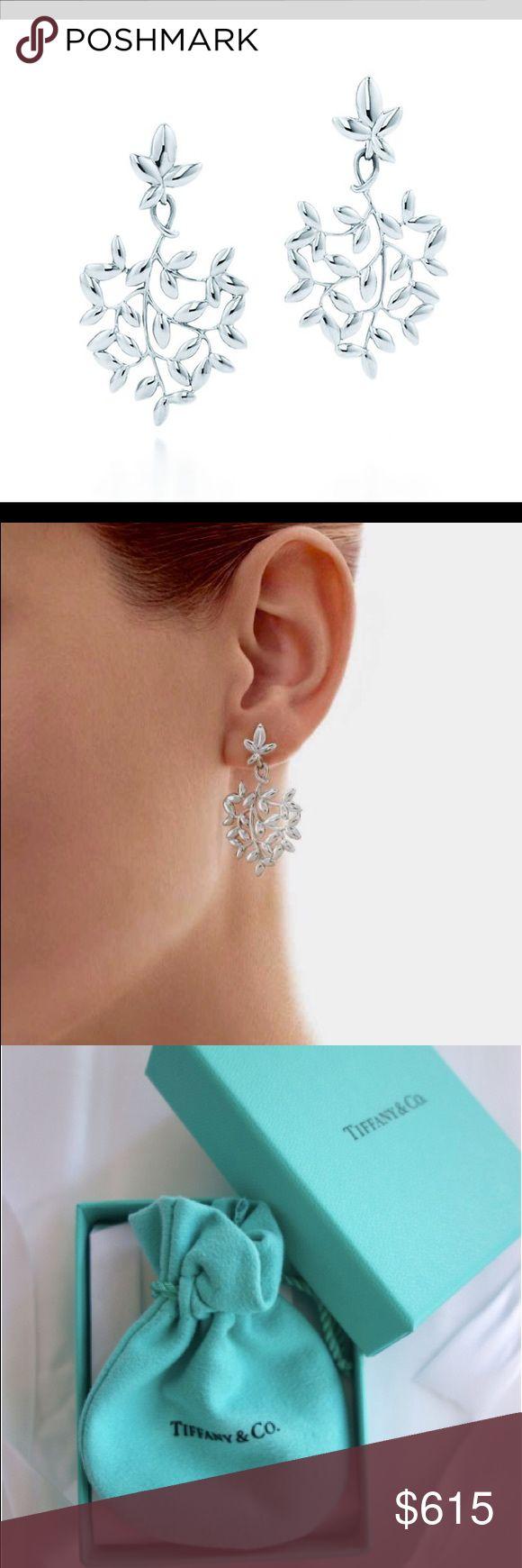 Tiffany & Co. Olive Leaf Drop Earrings A beautiful Olive Leaf Drop Earrings, a symbol of Peace. Earring in sterling silver. Tiffany & Co. Jewelry Earrings