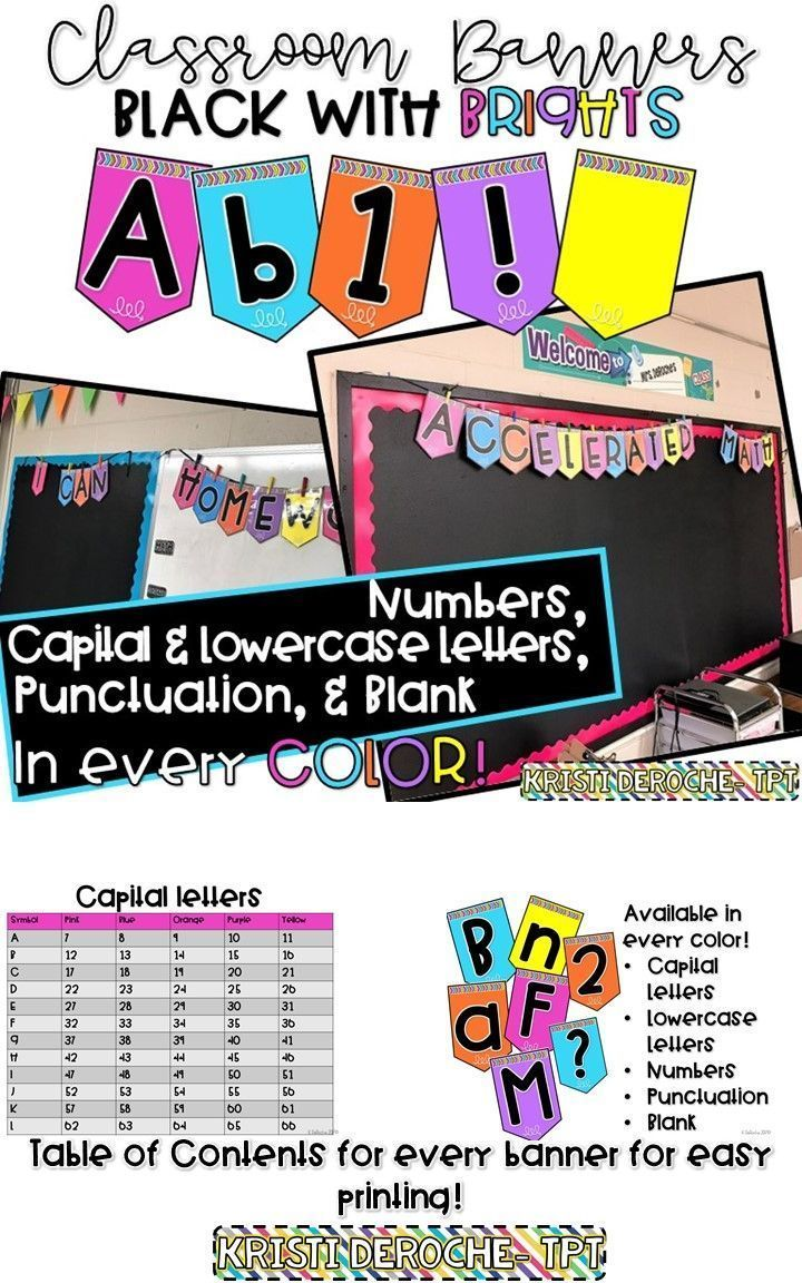 Classroom banner black with bright colors! Ready to print! Uppercase, lowercase, numbers, punctuation and blank banners in five different colors. Perfect for bulletin board titles or any other banner you want in your classroom!! Great for back to school!