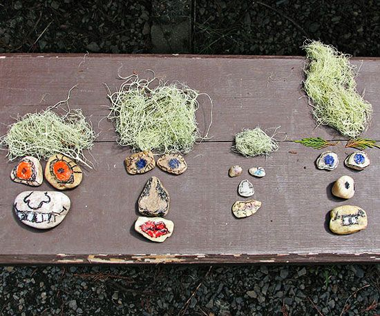 Use rocks and grass found at the park or in your yard to create these goofy nature faces.    http://www.parents.com/fun/arts-crafts/kid/nature-inspired-crafts-ideas-for-kids/?socsrc=pmmpin130219cRockFaces#page=3