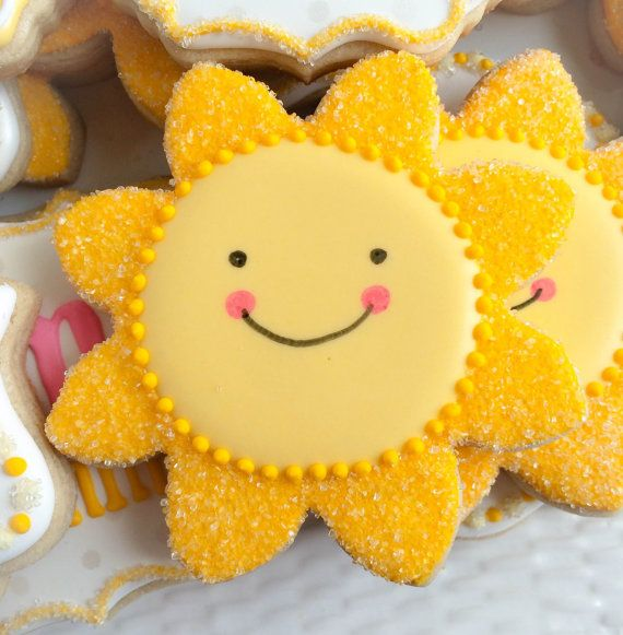 One dozen 12 You Are My SUNSHINE Sugar Cookies by ColorMeCookies More