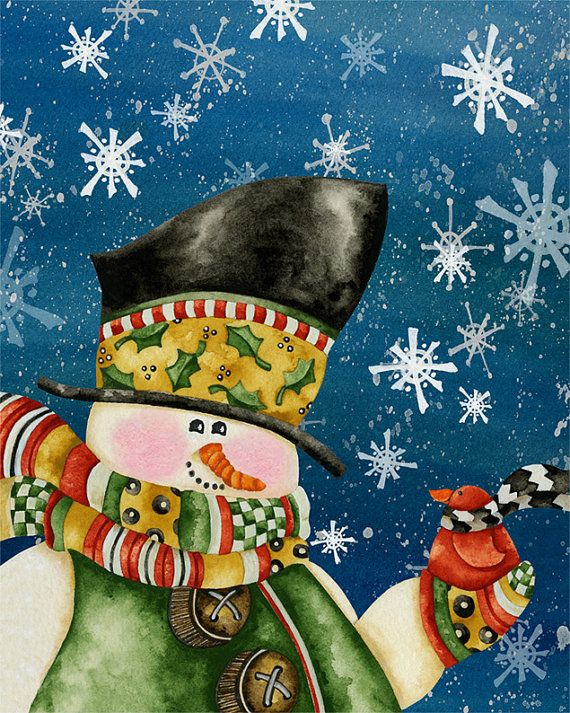 Snowman and little bird. Let it snow, let it snow, let it snow!