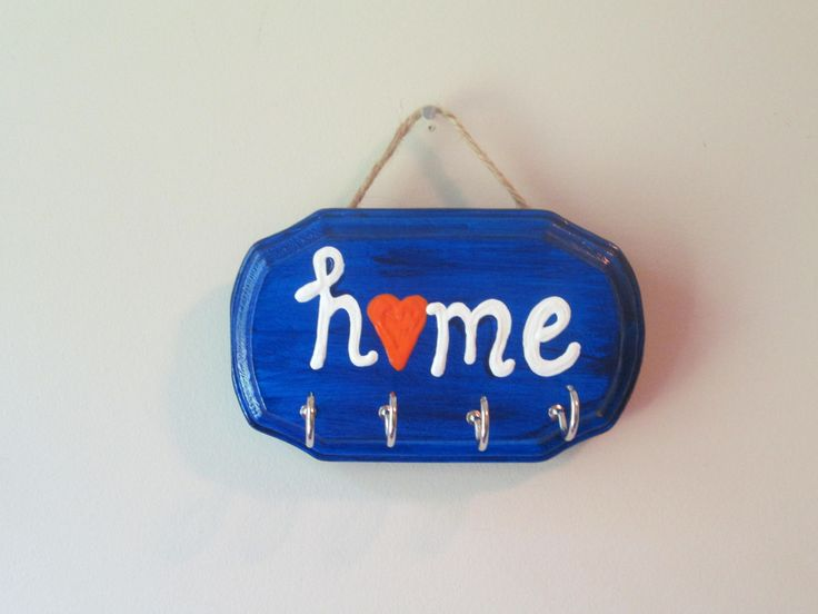 """Key holder for wall, """"home"""" key hanger for wall, school colors key holder by PovyArt on Etsy"""