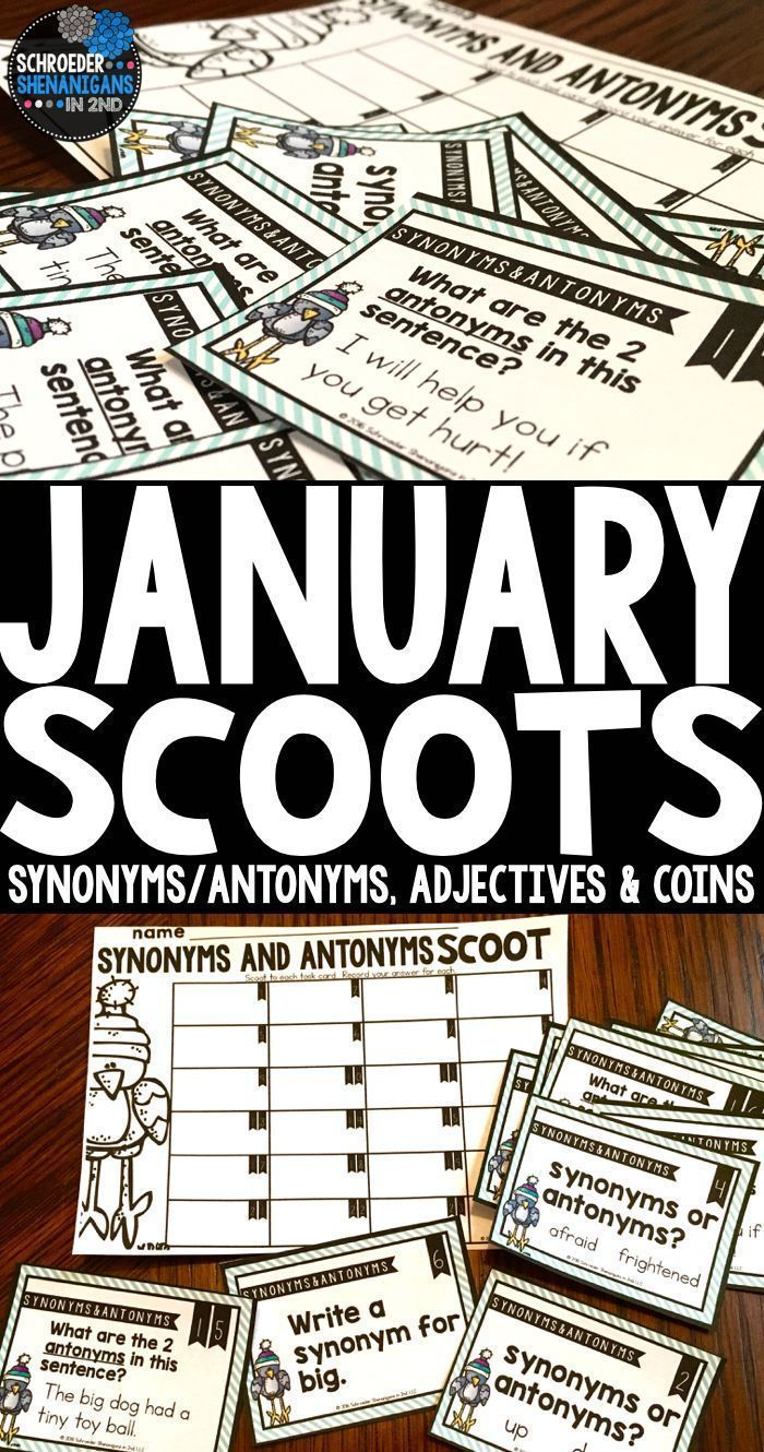 These January scoots will get your kids engaged and up and moving to complete each task card.  Skills included are synonyms and antonyms, adjectives, and counting coins by Schroeder Shenanigans in 2nd.