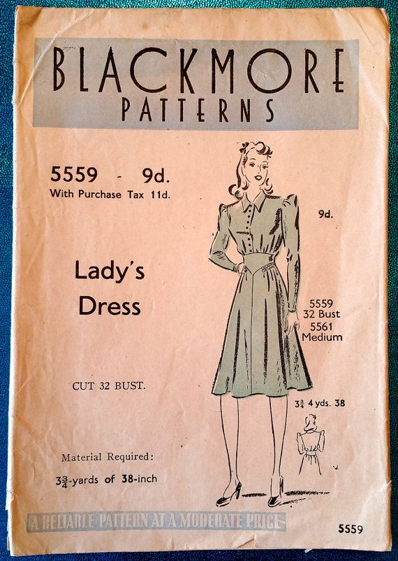 "Vintage late 1930's / early 1940's dress sewing pattern - Blackmore Patterns 5559 - size 32"" bust"