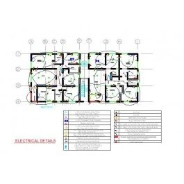 Fancy Electrical Plan Apartment Block D dwg