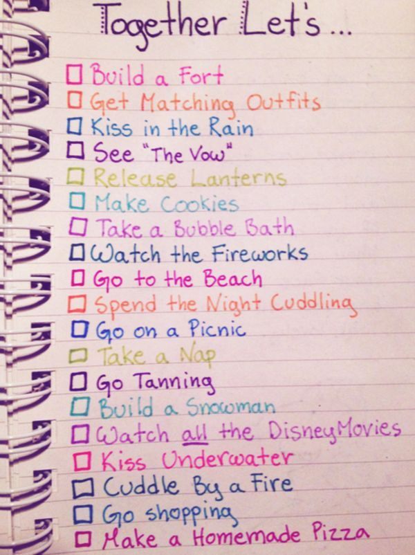Relationship bucket list ideas