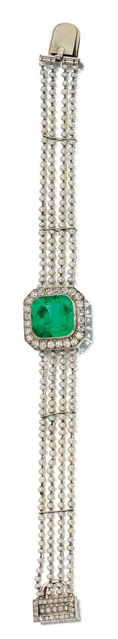 SEED PEARL, EMERALD AND DIAMOND BRACELET, CARTIER, 1927.  Decorated at the centre with an octagonal step-cut emerald framed by circular-cut diamonds, the sides set with four rows of seed pearls, the rectangular clasp set with single-cut diamonds and a row of seed pearls,  signed Cartier and numbered.  length approximately 180mm,