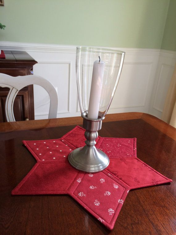 Moda Quilted Star Candle Mat Christmas or Year Round by seaquilt,