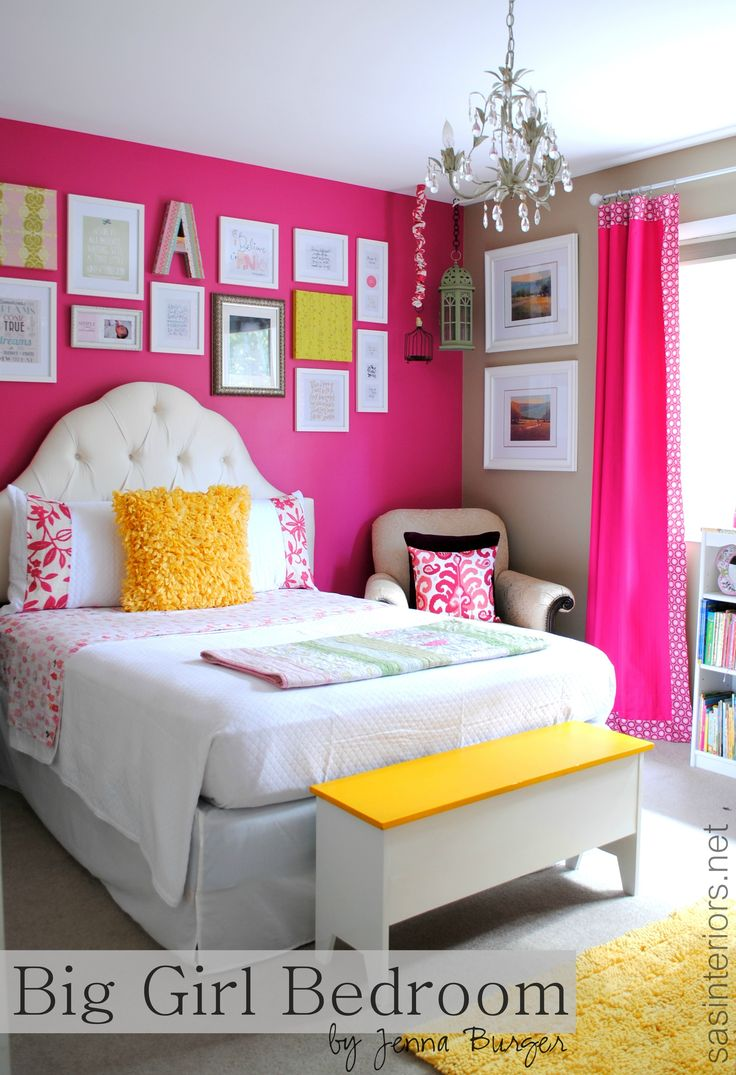 Normally I wouldn't like this shade of pink, but for some reason it works for me with the matching curtains...Loving this big girl bedroom makever from @SAS Interiors Jenna Burger. Bright colors, pattern mixing and fun texture .....be sure to check out the entire room for loads of #decorating ideas