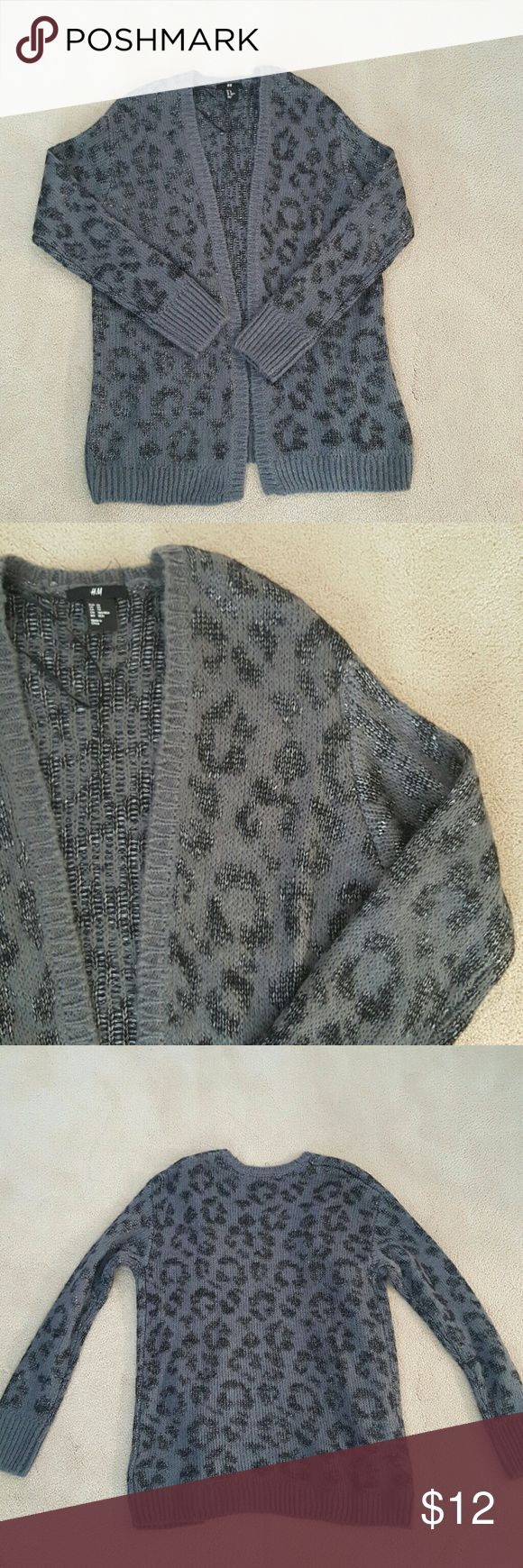 H&M open cardigan Gray animal print open cardigan H&M Sweaters Cardigans