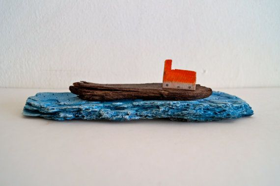 Original wood art, made of reclaimed wood and a driftwood piece, tiny House on a cliff on Blue water is a rustic art piece of a little wooden house