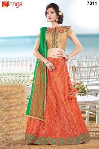 MAHOTSAV GROUP-Women's Beautiful Fire Orange Color Jacquard Silk SemiStitched Lehenga- m-7011