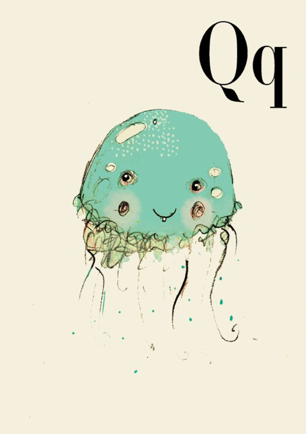 Tier Alphabet, Q wie Qualle, druke 10x15cm