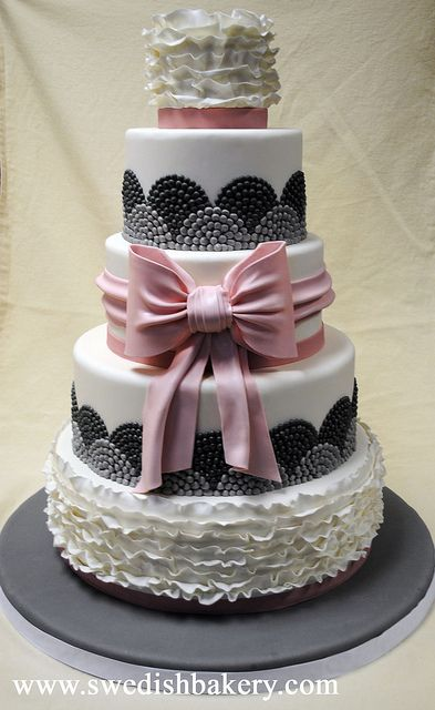 Pink & Grey Fondant with Ruffles and Bow by Swedish Bakery Chicago, via Flickr
