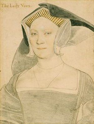 Elizabeth, Lady Vaux, by Hans Holbein the Younger. Queen Katherine Parr's first cousin on her father's side, she married Katherine Parr's first cousin on her mother's side.