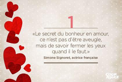 «Le secret du bonheur en amour, ce n'est pas d'être aveugle, mais de savoir fermer les yeux quand il le faut.» Simone Signoret, actrice française #StValentin #amour #couple